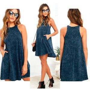 Lulu's Best Coast Washed Navy Blue Dress